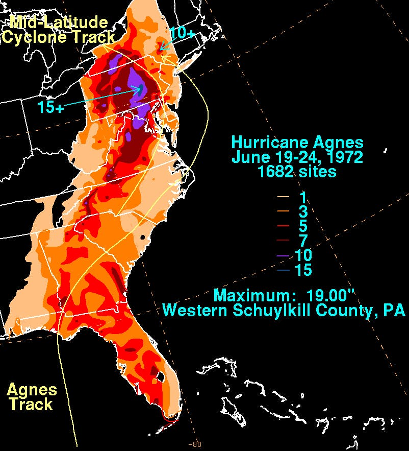 A total rainfall map of Hurricane Agnes, 1972, covering the entire eastern seaboard.