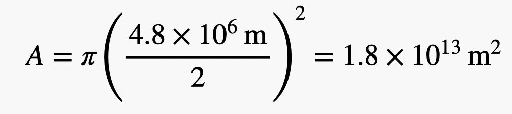 A equals 1.8 times 10 to the 13th power times by m sqaured