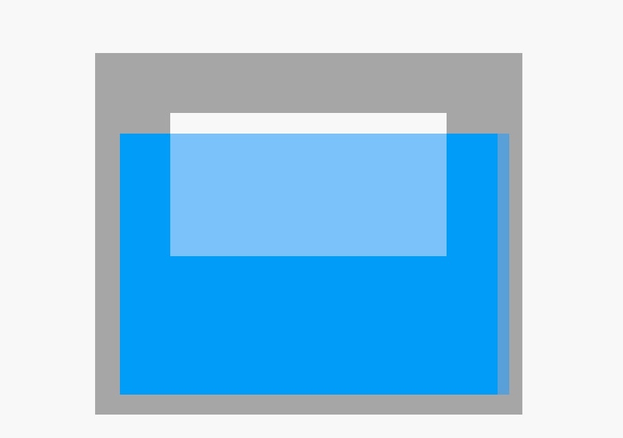 white block immersed in blue transparent block