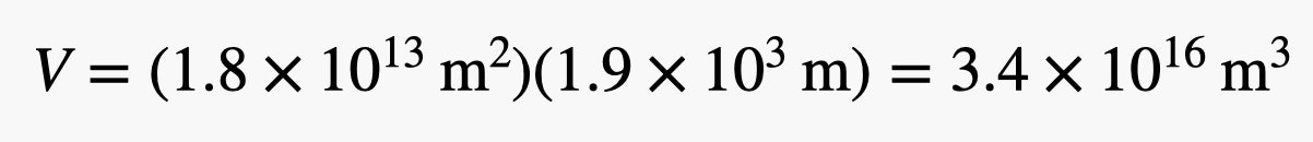 V equals 3.4 times 10 to the 16th power times m cubed