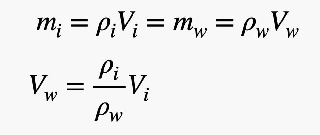 m equals p times V. Volume of water equals P of i over P of w times V of i