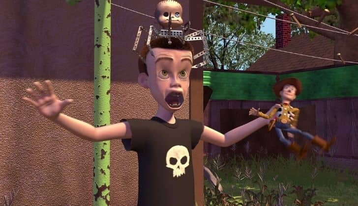 Woody's enemy Sid in the the first Toy Story movie