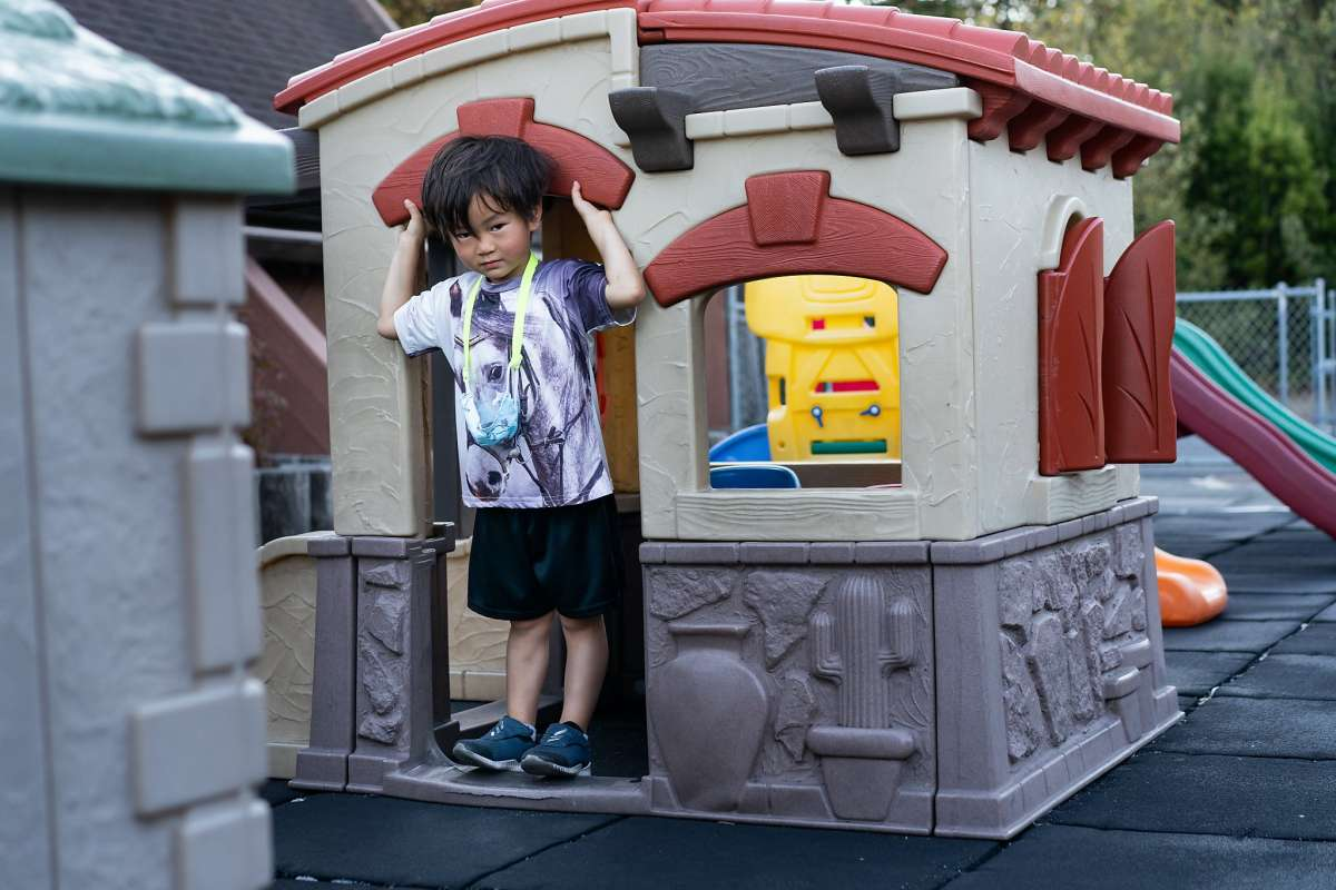 James Trinh, 5, shows how Maki the Lemur went into this house before being caught at the  playground of the Hope Lutheran Playground on Friday, Oct. 16, 2020 in South San Francisco, Calif.