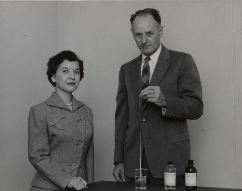 Kwolek and Paul Morgan doing the 'Nylon rope trick demonstration,' which she invented.