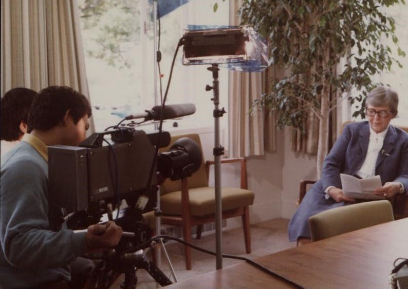 Kwolek doing an interview for TV Tokyo in the 1980s.