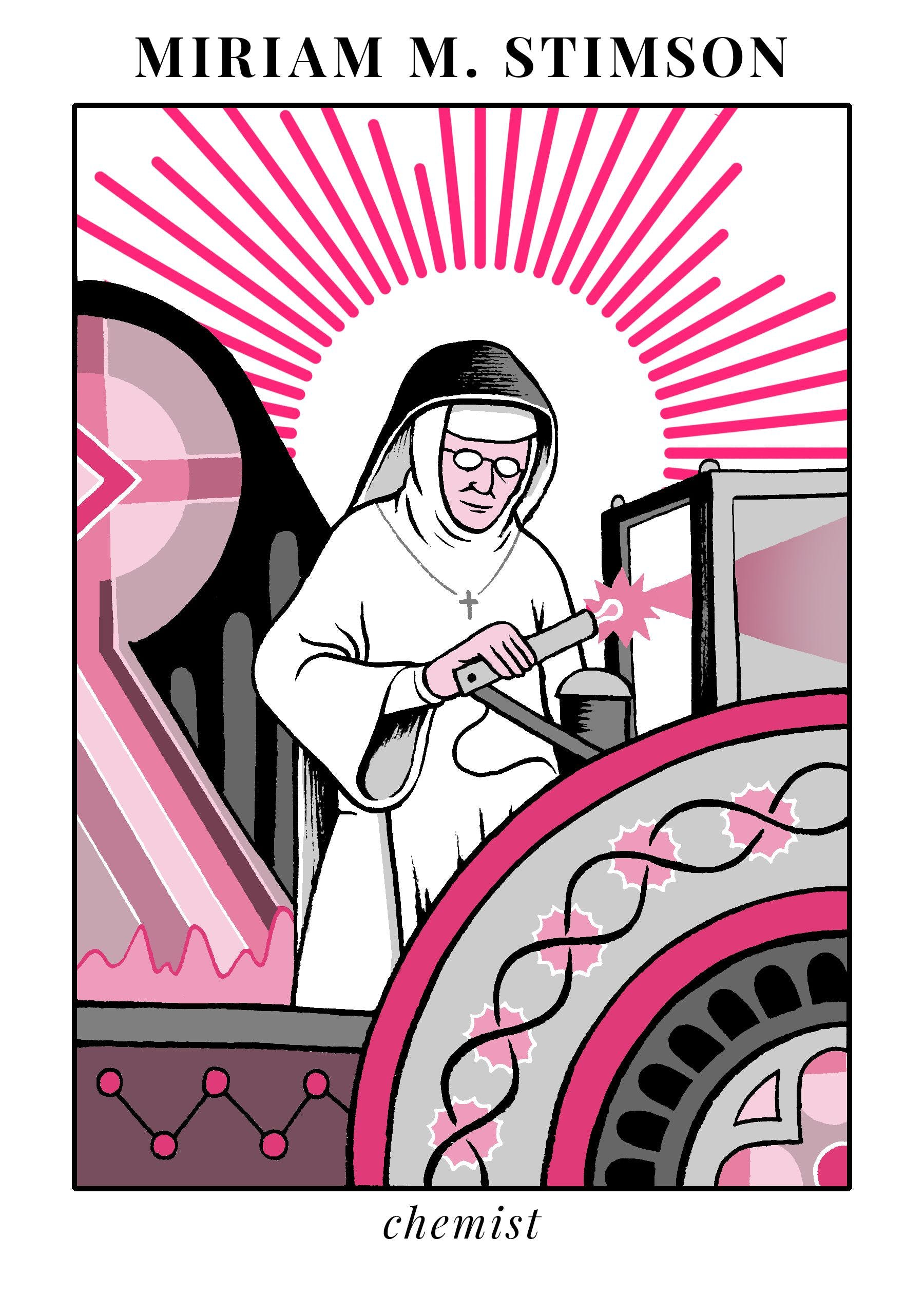Illustration of Maria Stimson, nun and DNA pioneer.