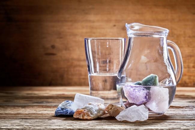Crystals in water healing stones - Shutterstock