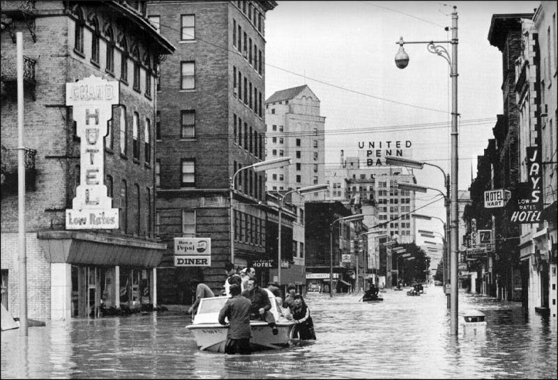Flooding in Wilkes-Barre, Pennsylvania, after Hurricane Agnes in 1972.