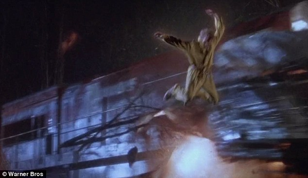 Harrison Ford's character Dr Richard Kimble escapes when the bus lands in a ravine in the path of an oncoming train