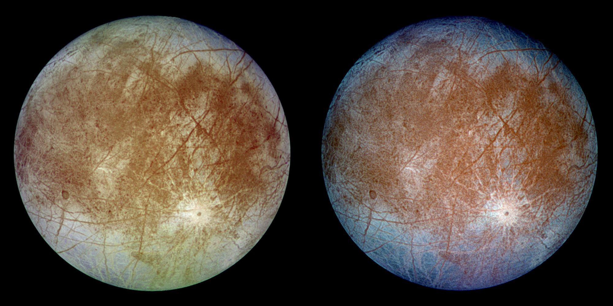 O bombardeio de radiação de Júpiter faz Europa brilhar no escuro