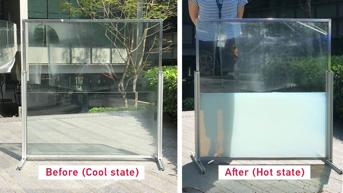 A janela cheia de líquido absorve o calor solar durante o dia e o libera à noite